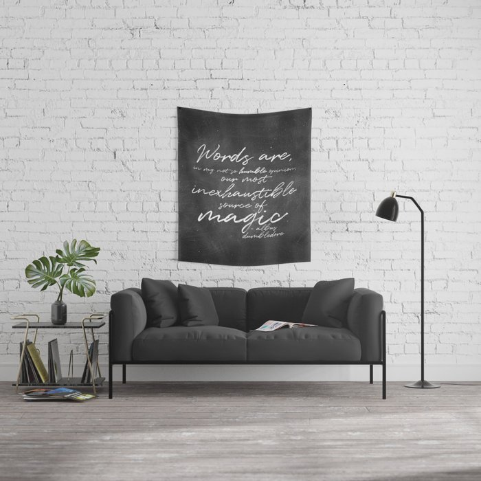 Words Are Magic (Dark) Wall Tapestry