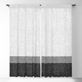 Black and White Graphic Burlap Pattern Stripe Blackout Curtain