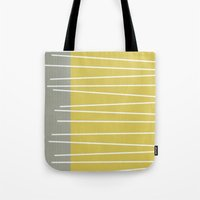 mid century modern Tote Bags featuring MId century modern textured stripes by Michelle Drew
