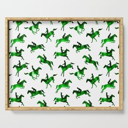 Watercolor Showjumping Horses (Green) Serving Tray