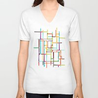 mondrian V-neck T-shirts featuring The map (after Mondrian) by Picomodi