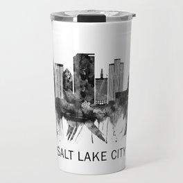 Salt Lake City Utah Skyline BW Travel Mug