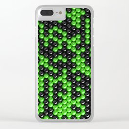 Pattern of black and green spheres Clear iPhone Case