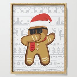 Ugly Sweater Dabbing Gingerbread Man Serving Tray