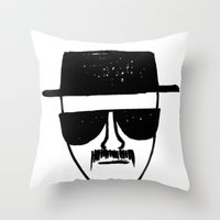 breaking Throw Pillows featuring Heisenberg - Breaking Bad Sketch by Bright Enough💡