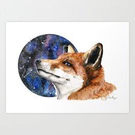 'Fox and Constellations' Watercolour Fox Art Print Art Print