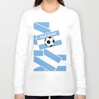 argentina Long Sleeve T-shirts featuring Argentina Football by mailboxdisco