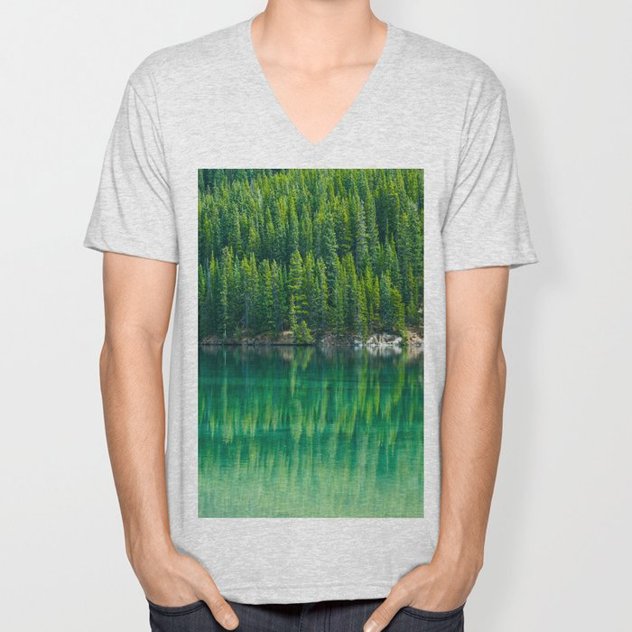 Reflective Green Pine Forest With Green Turquoise Waters Unisex V-Neck