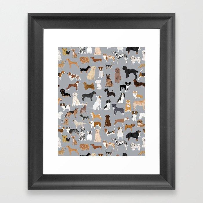 Mixed Dog lots of dogs dog lovers rescue dog art print pattern grey poodle shepherd akita corgi Gerahmter Kunstdruck