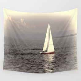 Sailing boat on the lake Wall Tapestry