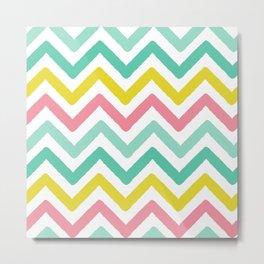 colorful zig zag chevron stripes pattern Metal Print
