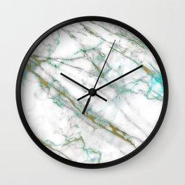 marble gold green Wall Clock