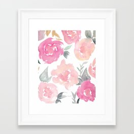 Muted Floral Watercolor Design  Framed Art Print
