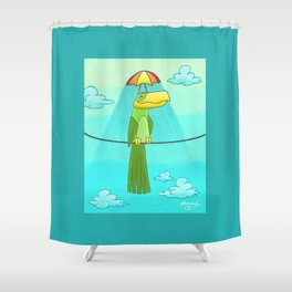 Umbrella Hat Bird Lounging on a Wire! Shower Curtain