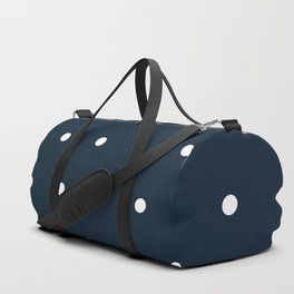 Navy Blue and White Polka Dots Pattern Duffle Bag