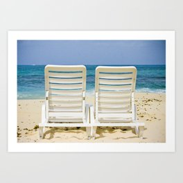 Summer Photo: Lounge Chairs on a Beach in the Caribbean Art Print