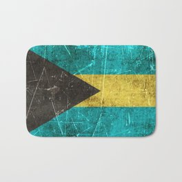 Vintage Aged and Scratched Bahamas Flag Bath Mat