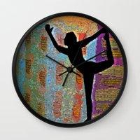 yoga Wall Clocks featuring Yoga by Vicki Lynn Rae