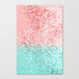 Summer Vibes Glitter #3 #coral #mint #shiny #decor #art #society6 Canvas Print