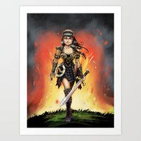 xena Art Prints featuring Xena by Mr. Chuckles