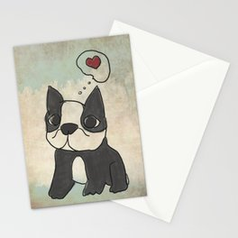 Hand Drawn and Quirky Boston Terrier San Jones Illustration Stationery Cards