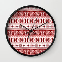 Red Winter Fair Isle Pattern Wall Clock