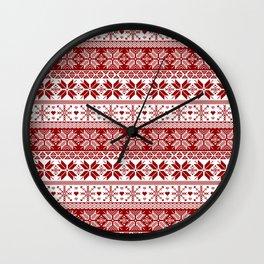Red Winter Fair Isle Pattern Wall Clock