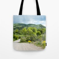 running Tote Bags featuring Running  by Julie Luke