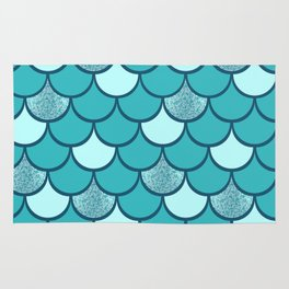 Turquoise  mermaid scale with  glitter effect Rug
