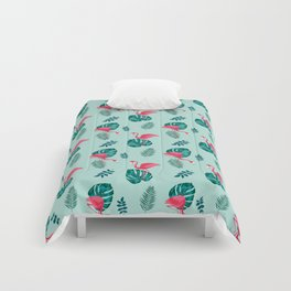 pink flamingo bird on blue and green tropical pattern Comforters