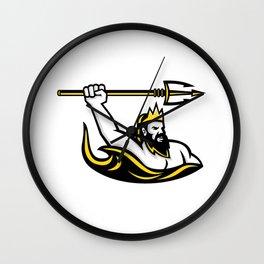 Triton Wielding Trident Mascot Wall Clock