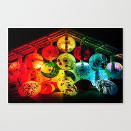Japanese umbrellas colorful Canvas Print