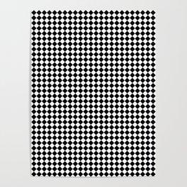 Classic Black & White Small Diamond Checker Board Pattern Poster