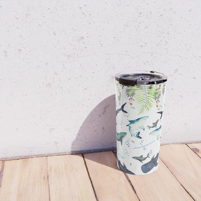 floral shark pattern Travel Mug