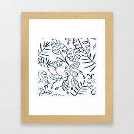 Tropical Plant Boho Chinoiserie Blue and White Framed Art Print