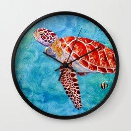 Sea turtle and friend Wall Clock