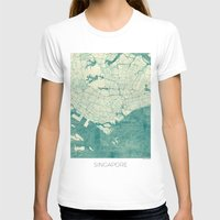 singapore T-shirts featuring Singapore Map Blue Vintage by City Art Posters