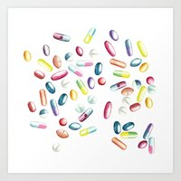 pills Art Prints featuring Pills by kristinesarleyart