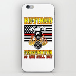 Retired Firefighter 65th Birthday Thin Red Line Flag iPhone Skin