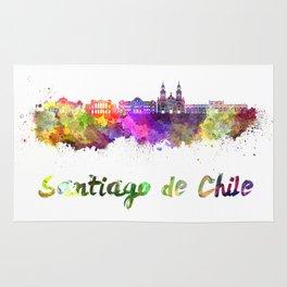 Santiago de Chile V2 skyline in watercolor  Rug