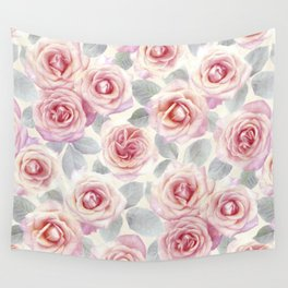Mauve and Cream Painted Roses Wall Tapestry
