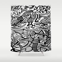 chaos Shower Curtains featuring chaos by Viyenno Design