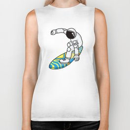 Astronaut Rocket Man on Surfboard Biker Tank