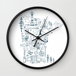 Minnesota Up North Collage Wall Clock