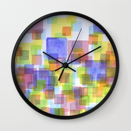 Floating Lightfull Squares  Wall Clock