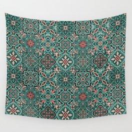 Peranakan Art Nouveau Tiles (Mixed Patterns in Peach Garden) Wall Tapestry