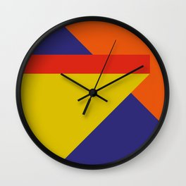 Random colored parallelepipeds flying in a cool blue space Wall Clock