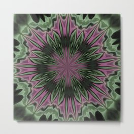 Rose and Jade Floral Fantasy Mandala Pattern Metal Print