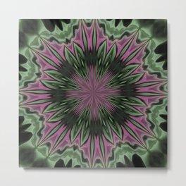 Rose and Jade Floral Fantasy Mandala Pattern Metal Print