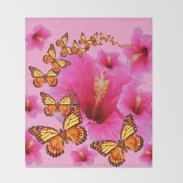 GIRLY PINK HIBISCUS YELLOW MONARCH BUTTERFLIES Throw Blanket
